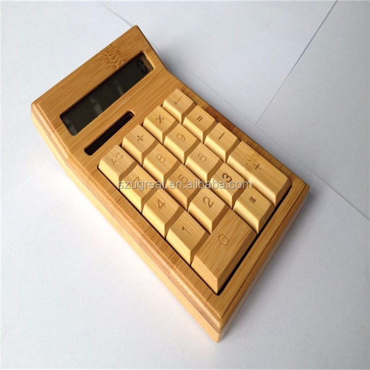factory bamboo desktop calculator promotion solar office calculator