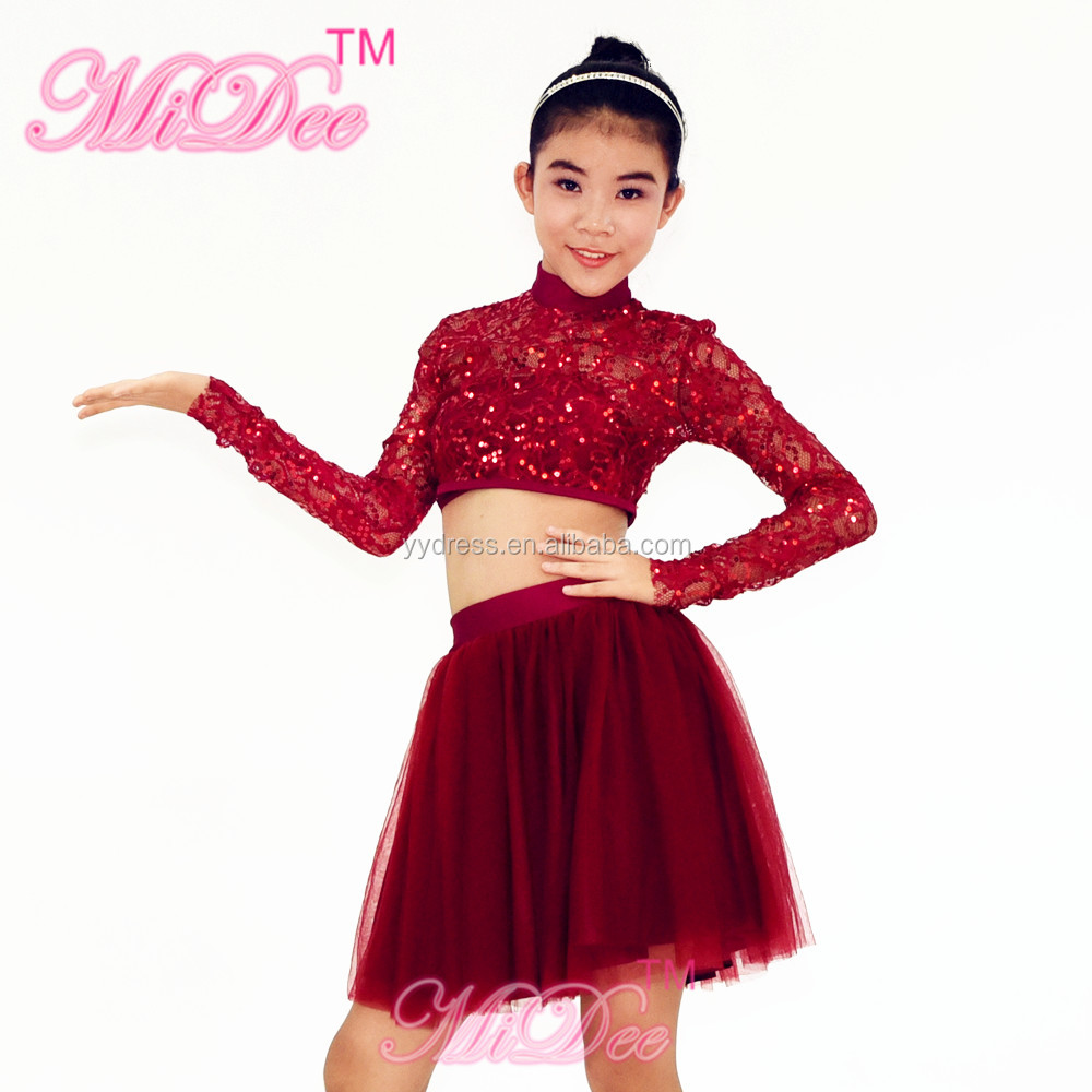 Hight-Neck Dew Belly Long Sleeve Lace Skirt Beelly Dance Dress For Girls