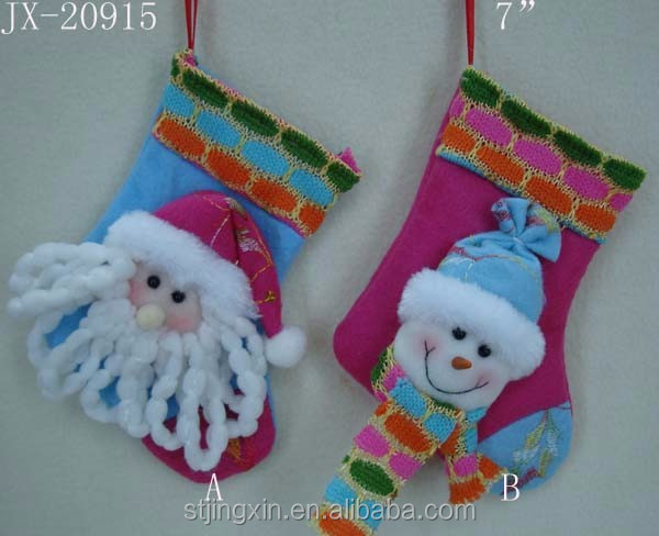 7'' pink blue santa snowman head animated decorative christmas sock for baby