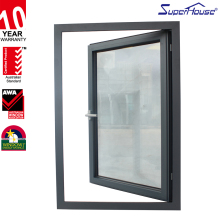 australia standard hinged windows double glass black vinyl windows