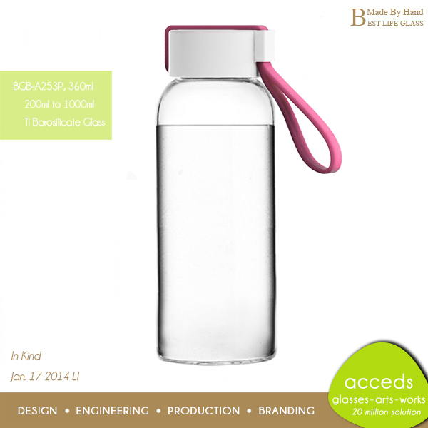 2014 Eco Heat Resistant Glass Hot Sports Travelers Drinking Water Bottle