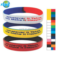 Fashion Accessory 2014 Messenger Double Colored School Silicone Bracelets - Yiwu Factory Directly