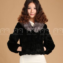 MBA Furs Black rabbit Fur jackets with raccoon fur collar for Women