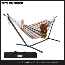 Double Hammock With Space Saving Steel Stand Includes Portable Carrying Case