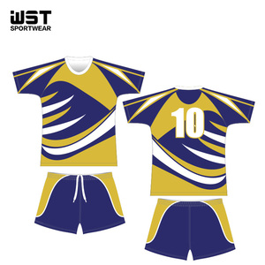 Customise football team uniforms printed soccer mesh jersey and short at factory price