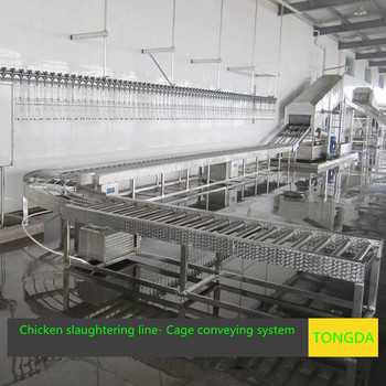 Poultry slaughtering line --cage conveyor