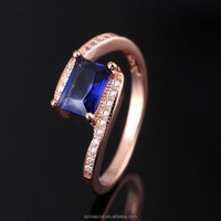 Custom Silver Rings for Women 925 Sterling Silver Rings 2015 New Design Blue CZ Stone Rings Fine Jewelry