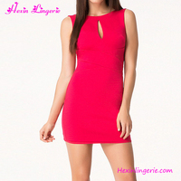 Sexy Rose Red Summer Bodycon Latex Dresses Knee Length