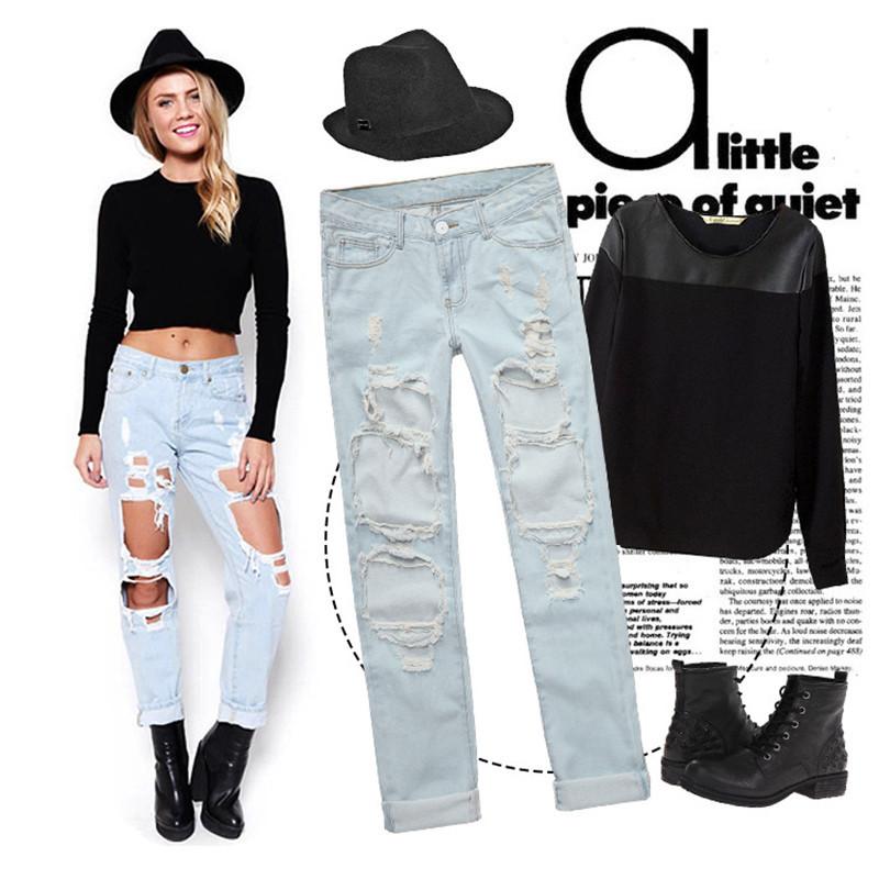 7464fa6b97113 Get Quotations · 2015 Fashion Women Vintage Holes knee Ripped Jeans 5  colors Trousers Female Retro Denim Women Europe