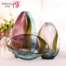 Handmade Blown home decoration colorful glass flower vases