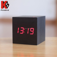 Cube LED clocks wholesale decorative design wooden handicrafts