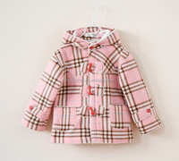 New Winter Girls Coat Pink Grid Thick Girl Jacket Warm Down Coats For Children Clothes Free Shipping OC41212-21
