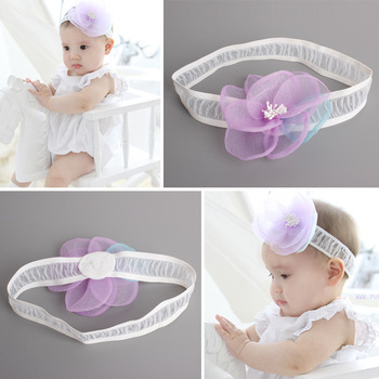 MS70023W Baby girls flower design lace hair band