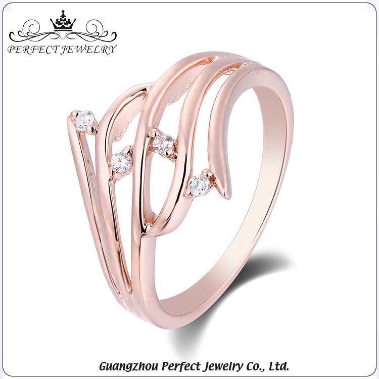 High quality customized fashion ring rose gold 925 sterling silver diamond ring for wedding