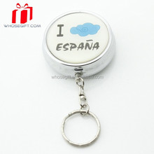 Round Shape stainless steel key chain Pill Box With 2 Case For Promotional