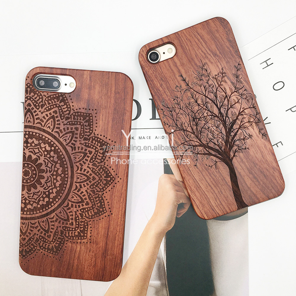 New Natural Tree Mandala Flower Wooden Wood Bamboo Case For Apple iPhone 7 Shell Phone case