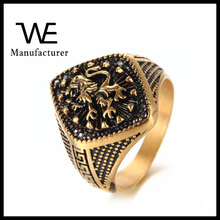 New Styles Fashion Designs Engraved Stainless Steel 24K Gold Solid Lion Of Judah Rings For Men