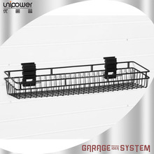 Garage wall mounted black wire baskets for pvc slatwall panel and gridwall hanging basket