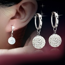 2017 hot sell Crystal Diamond silver earing Fashion earing