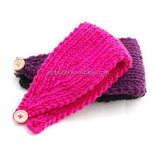 Crochet Solid Color Cotton Headband with Button Closure