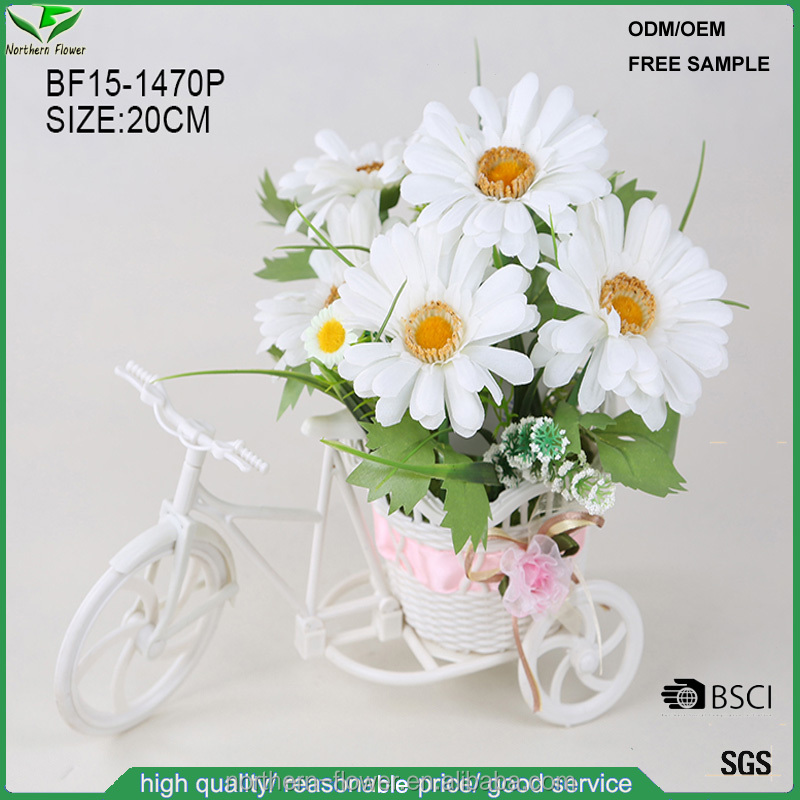 Promotional small white wild daisy flower in plastic decorative pot wholesale, fake silk flowers