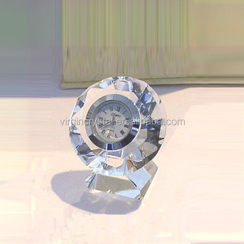 New style handmade small crystal diamond clock with stand for love wedding gift