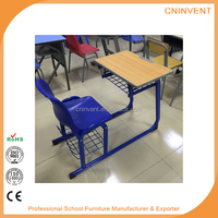 2016 New style attached single student furniture school desk and chair