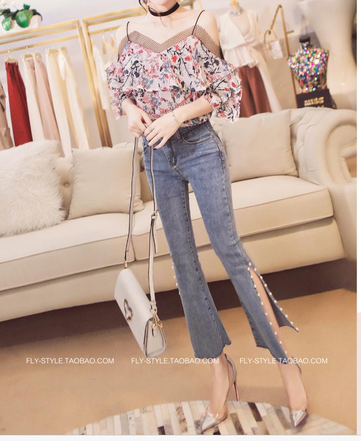Light blue bell bottom denim jeans for lady Floral high rise flared hem fashion woman jeans