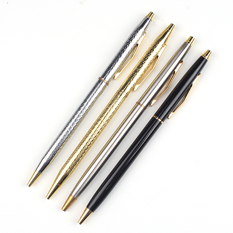Advertising custom pens no minimum order metal slim hotel pen