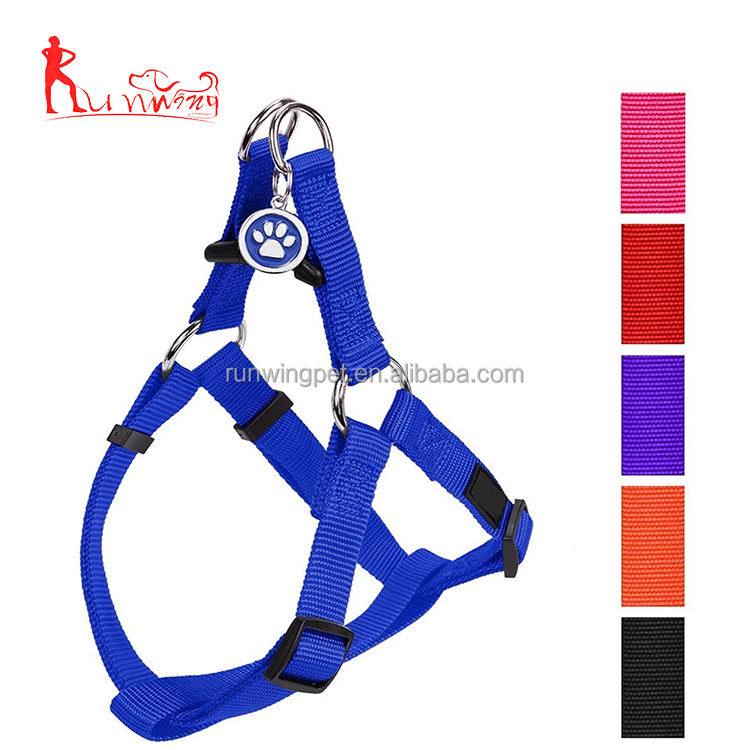 Custom adjustable basic nylon leash pet dog harness with dog tag