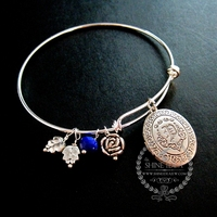 antiqued silver oval photo locket love engraved blue glass bead rose leaf charms wiring bangle bracelet fashion jewelry 6440013