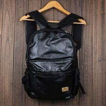 2015 New designer brand fashion black genuine leather men's backpacks preppy style brown women backpack bolsas mochila feminina
