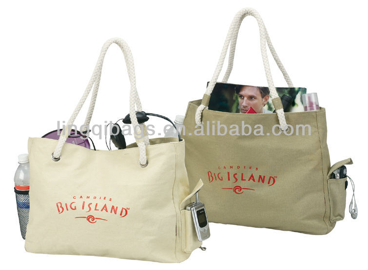 Promotional canvas beach tote bags with rope handle