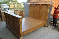 Bedroom Furniture-Solid Wood Carved King Bed