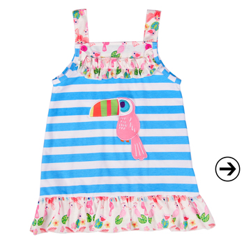 spring kids beautiful model dresses cute animal pattern baby girl smock boutique dress