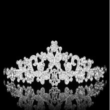 2014 newly modern crystal wedding for women butterfly shaped white rhinestone tiara