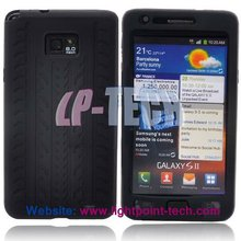 Black Rubber Silicone tire tread phone case for Samsung i9100 Galaxy S2