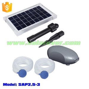 Eco friendly 3LPM maximum air flow rate solar air pump for fish pond with two air outlets (SAP2.5-3)