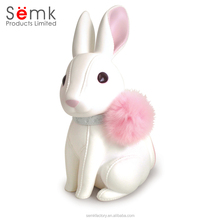 Custom plastic resin pvc rabbit money saving box coin bank for kids toy