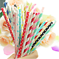 Wholesale Biodegradable Custom Printed Party Paper Drinking Straws , Fancy Thick Drinking Straws