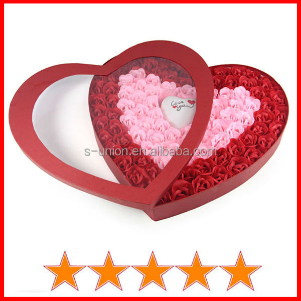 Classic 100pcs rose flower soap with light in heart gift box