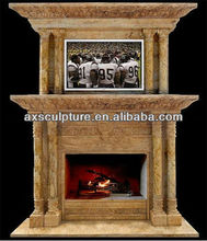 double yellow marble fireplace surround