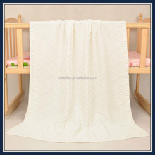 Skin confortablely organic fabric pure color plain soft cotton baby blanket