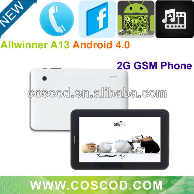 Newest 7 inch Android 4.0 Capacitive Touch CPU Allwinner A13 2G Phone Tablet PC with sim Card Slot