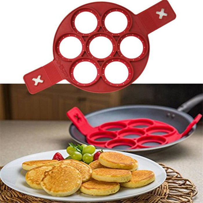 FDA LFGB Approved Nonstick Useful Heat Resistant 7 In 1 silicone Pancake Mold