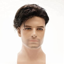 Wholesale Indian Remy Human Hair Wig Slight Wave 3.2 cm Fine Mono Cheap Toupee For Men
