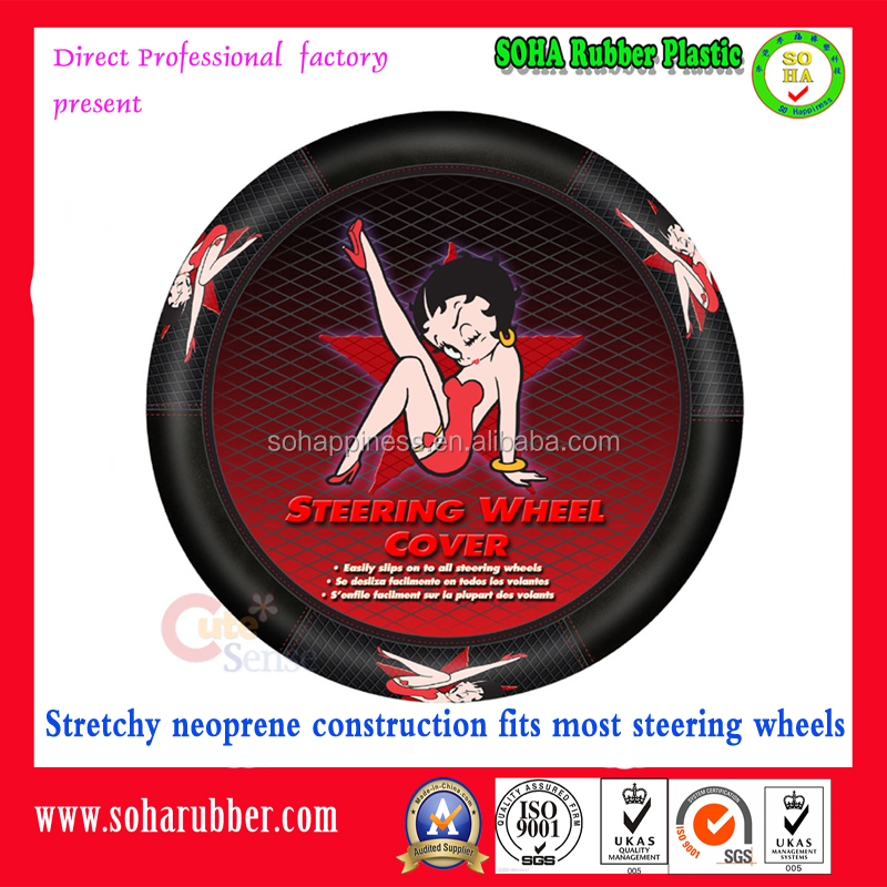 "15"" stretchy neoprene lady car steering wheel cover"