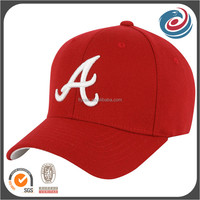 red good quality pre curved brush cotton six panels baseball caps