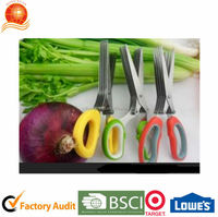 18/0Stainless steel Double blade Kitchen Scissors types of Kitchen scissors with soft Plastic Handle