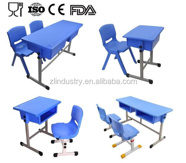 Top quality colorful ergonomic school desk and chair